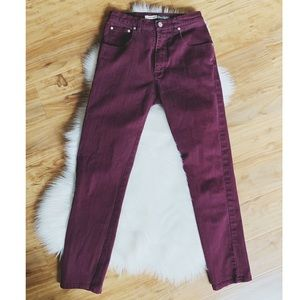Vintage High Waist Burgundy Jeans